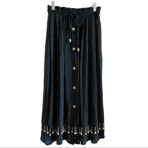 Vintage black midi button down gypsy skirt